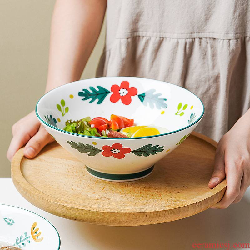 Hand - made ceramic rainbow such as bowl bowl of soup bowl of soup basin of individual household mercifully rainbow such use salad bowl ins wind Japanese ramen rainbow such use