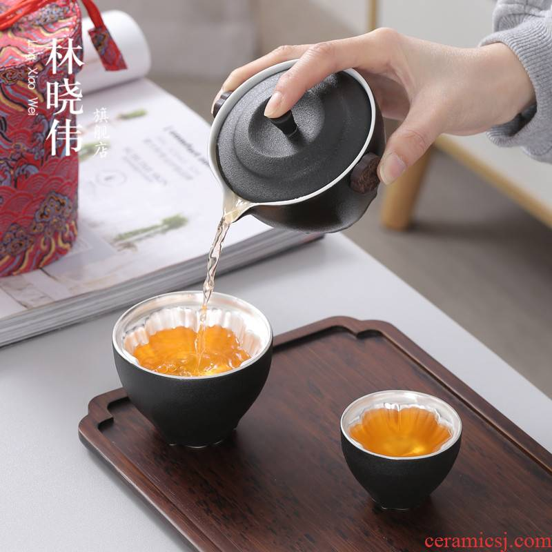 Tasted silver gilding a pot of 2 cup two cups of kung fu tea sets travel the receive portable bag custom to crack a cup of black