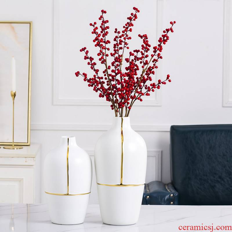 Ceramic vase furnishing articles dried flower adornment Nordic new Chinese style living room creative I and contracted white table flower arrangement