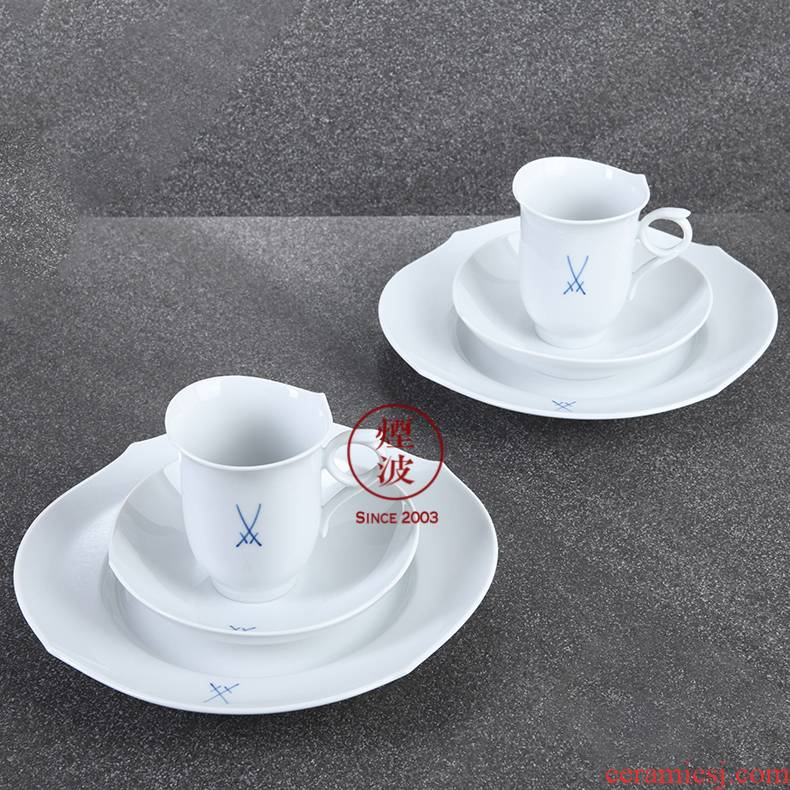 Germany mason mason meisen porcelain magic wave pure cobalt blue double sword red cup of coffee cups and saucers