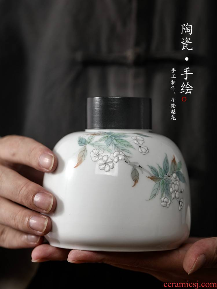 Manual caddy fixings small jingdezhen hand - made the pear flower porcelain pot portable white porcelain tea pot tea storage tanks