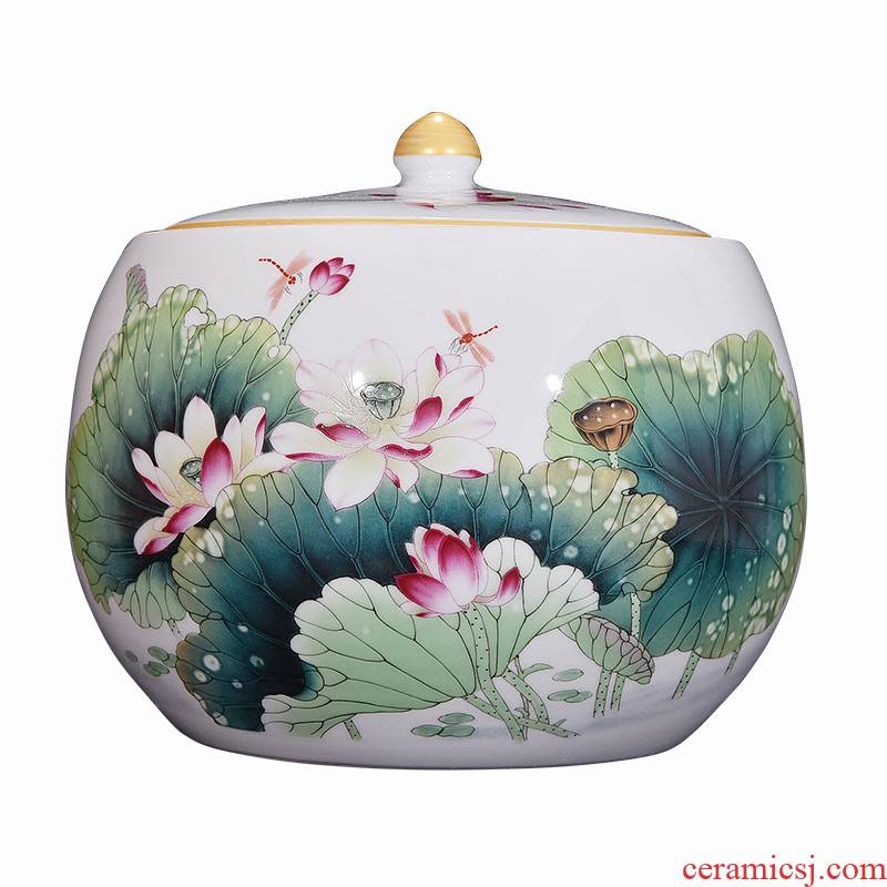 A9 jingdezhen ceramic powder enamel jar jar of fragrant lotus classical Chinese style living room home decoration caddy fixings furnishing articles
