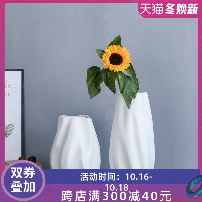 Sitting room creative furnishing articles home decoration ceramic dry flower vase floral decoration is I and contracted white vase