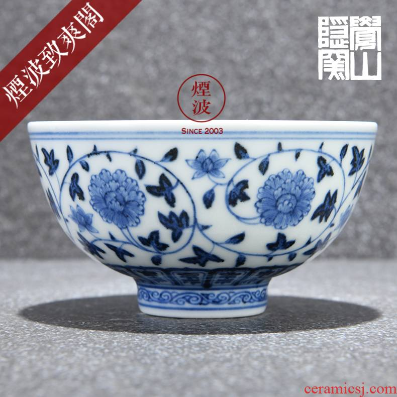 Those hidden up porcelain jingdezhen sleep mountain reform movement model of peony lines cup sample tea cup tea cups