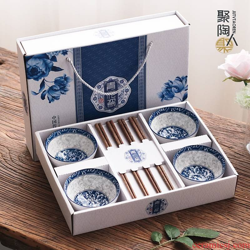 Gift suit batch of household chopsticks suit to use the custom printed LOGO national color blue and white porcelain bowls set Gift boxes