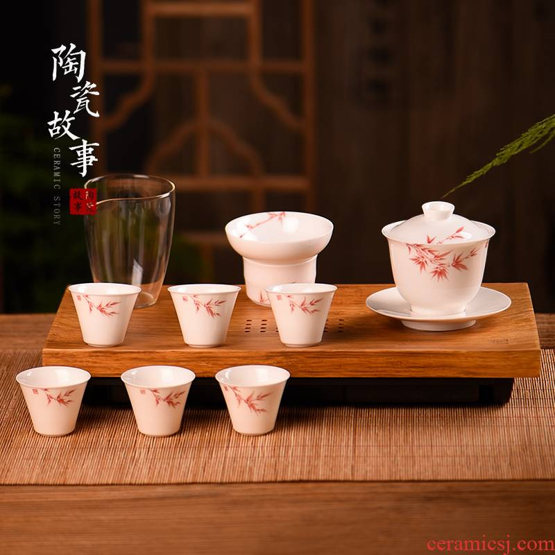 The Story of pottery and porcelain making tea with a set of household ceramic kung fu office receive a visitor the whole sitting room is contracted tureen tea set