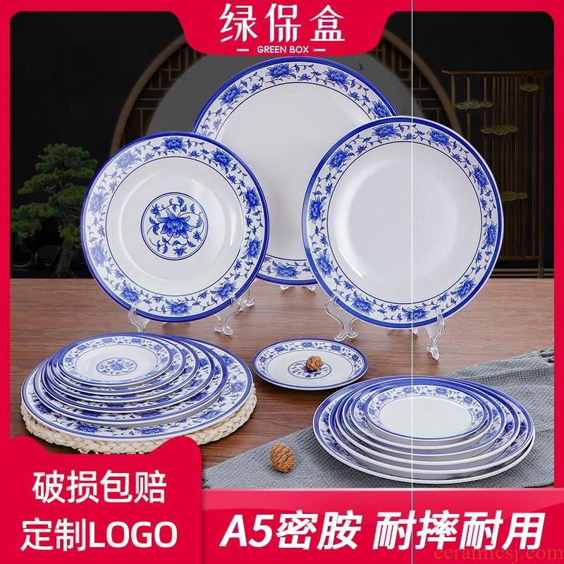 Plastic circular plates with blue and white porcelain dish disc melamine imitation porcelain tableware ltd. hotel restaurants deep dish dab