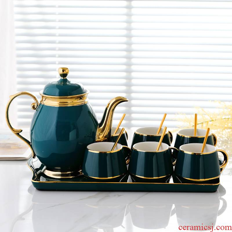 Ultimately responds a cup of coffee cups and saucers small European - style key-2 luxury ceramic cup home English afternoon tea sets with water tray