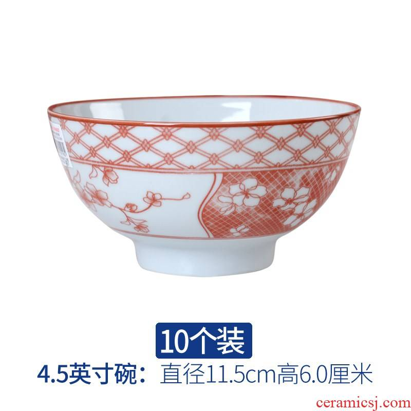 Ceramic bowl home eat rice bowl suit Chinese thickening of blue and white porcelain high anti hot large rainbow such as use of household food dish