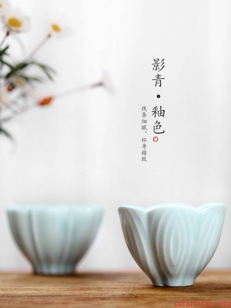 Jingdezhen ceramic cup sample tea cup kung fu masters cup single cup large shadow blue glaze tea only, household utensils