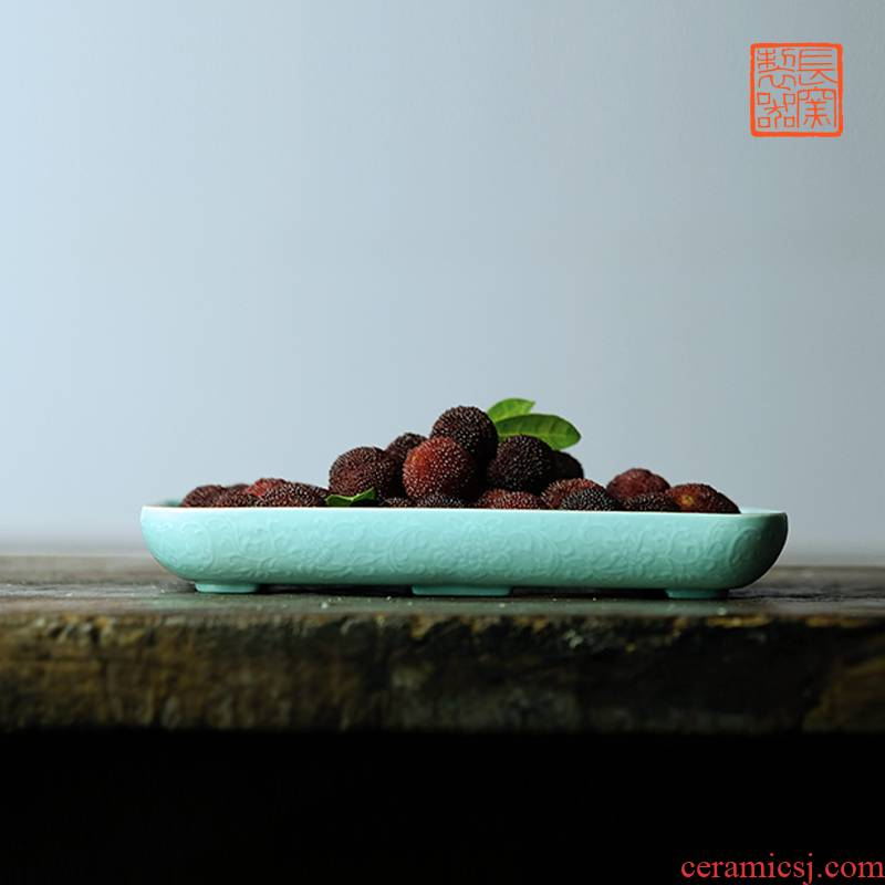 Offered home - cooked in turquoise, see colour square pot of tea tray bearing dry mercifully glaze plate jingdezhen hand - carved ceramic tea tray