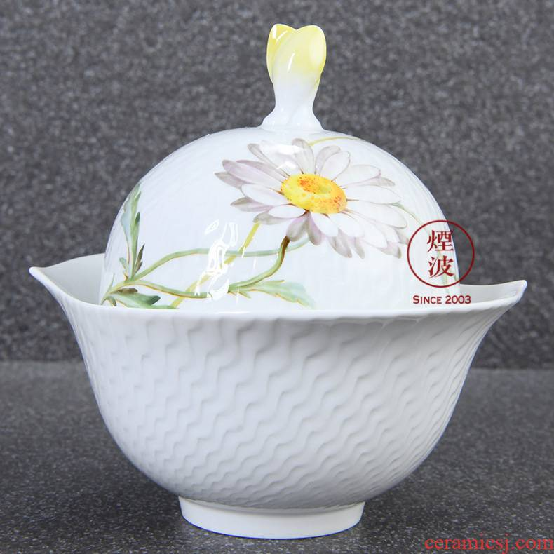 German mason mason meisen porcelain magic wave embossment color white Daisy flowers sugar jar tureen