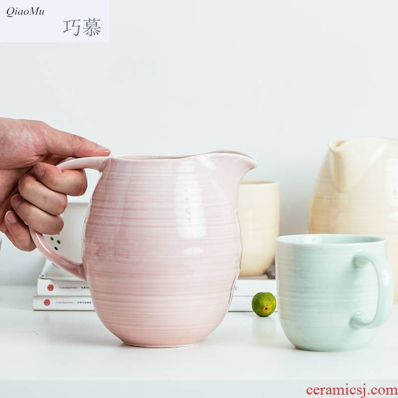 Qiam qiao mu summer home western - style contracted a cold ceramic bottle cooler kettle high - capacity milk cylinder posey the teapot