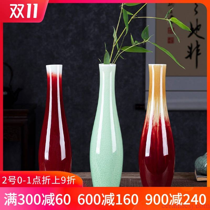 Jingdezhen ceramics floret bottle manually archaize crack glaze guanyin bottle teahouse flower arrangement sitting room adornment is placed