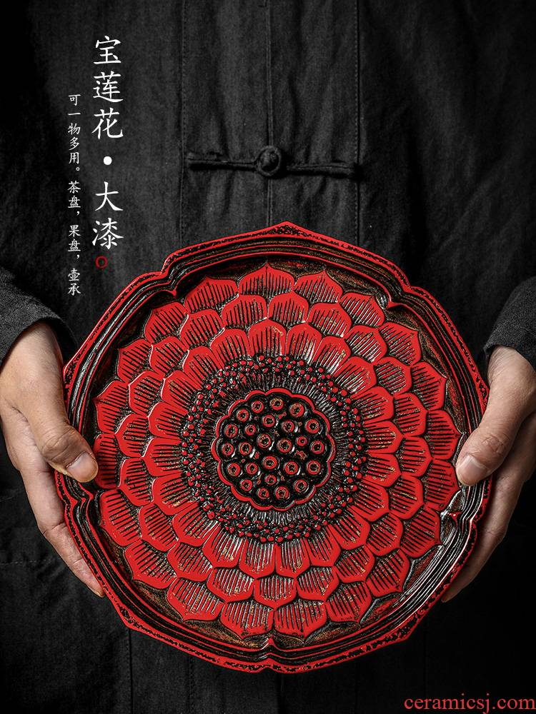 Jingdezhen Japanese pot of bearing dry terms Taiwan retro 12 Chinese lacquer wood carving water lotus tea tray tea machine accessories