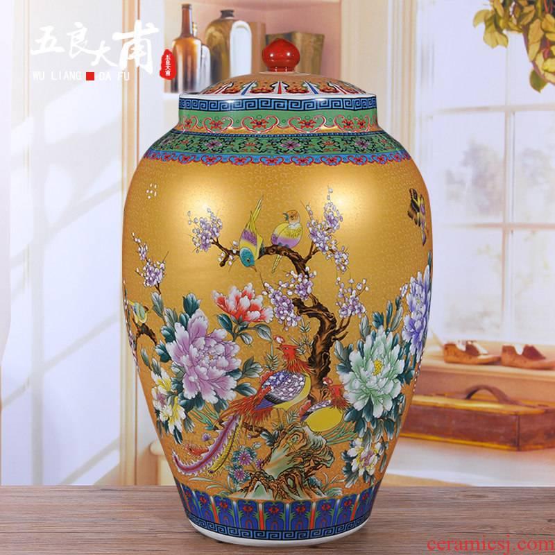M Ricer box barrel jingdezhen ceramic altar 50 kg flour noodles barrels of kitchen storage cylinder barrel storage tank decoration