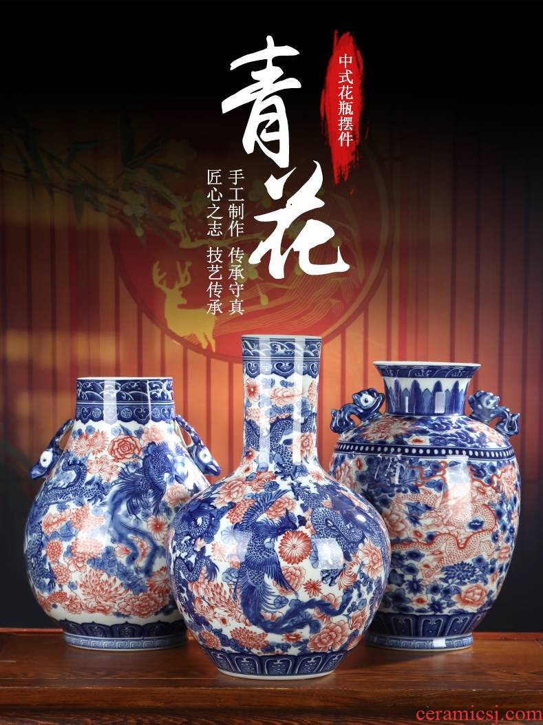 Youligong of blue and white porcelain vase furnishing articles of jingdezhen ceramic Chinese dragon flower arrangement sitting room decoration crafts antique bottles
