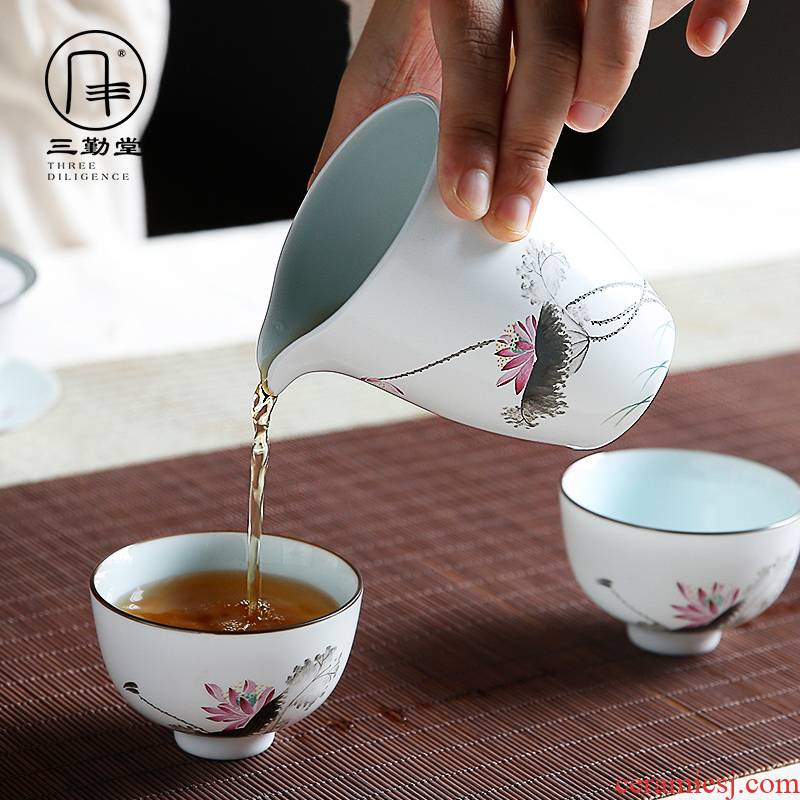 Three frequently hall, just a cup of tea sea points kung fu tea tea ware jingdezhen ceramics greedy S32014 up white male cup