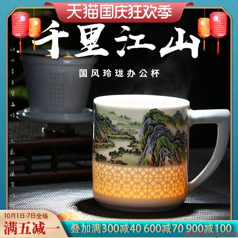 Jingdezhen porcelain carving exquisite tea famous works office cup tea separation household large capacity gift boxes