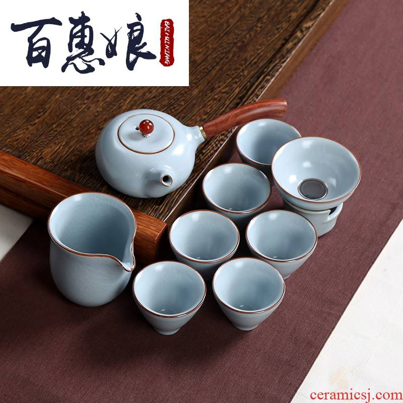 (niang coarse pottery side put the pot of kung fu tea set ceramic household small Chinese style is I contracted your up with restoring ancient ways