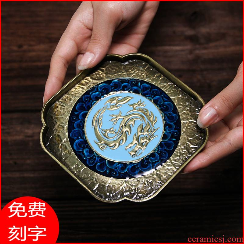 Japanese alloy colored enamel pot bearing dry table ceramic tea pot - as tea sets of kung fu tea tea cup mat small tea tray