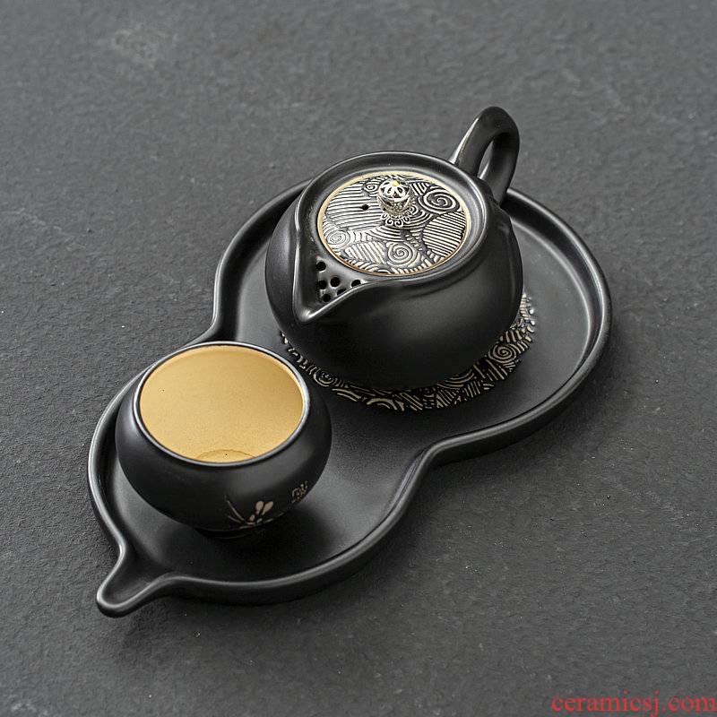 One Japanese zen tea kungfu tea set home tea cup ceramic teapot dry terms tray was gourd tea tray