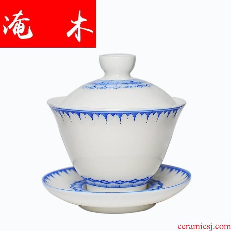 Submerged wood dehua white porcelain tureen large ceramic tea tea cups household kung fu tea set white porcelain three of the bowl