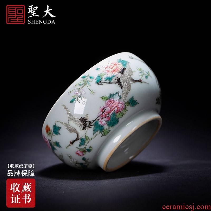 Santa teacups hand - made ceramic kung fu mei pastel blue ice flower in crane master sample tea cup jingdezhen tea service