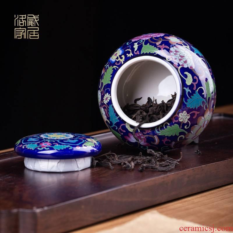 Blower, colored enamel caddy fixings ceramic mini sealed as cans of jingdezhen tea service parts small tea POTS