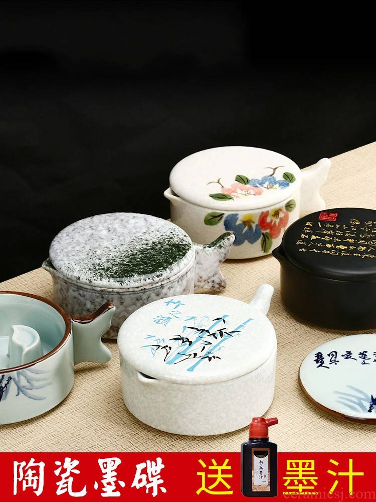 Multifunctional ceramic the inkwell with cover high - grade multi - purpose penholder pen writing calligraphy sheng ink ink fountain students lick the writing brush washer from Chinese painting ink dish of four treasures ink inkstone ink kelp tools