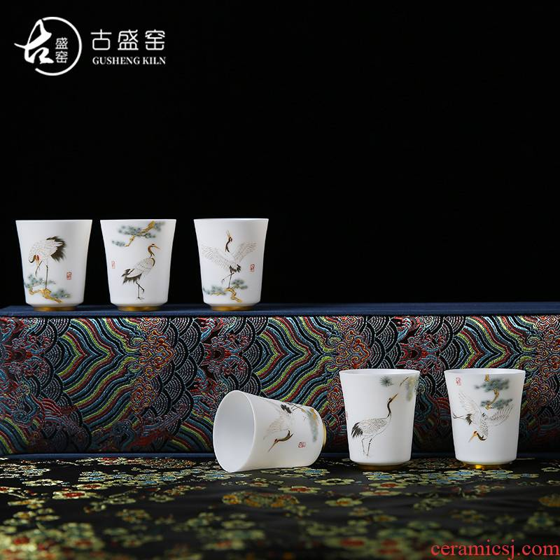 The ancient sheng up suet jade ceramic masters cup single cup pure manual hand - made suet jade kung fu tea cups white porcelain sample tea cup