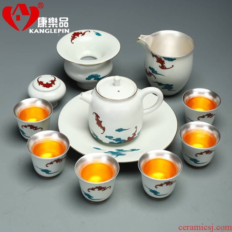 Recreation office 999 sterling silver products of a complete set of kung fu tea set manually coppering. As silver tureen ceramic tea set domestic cups