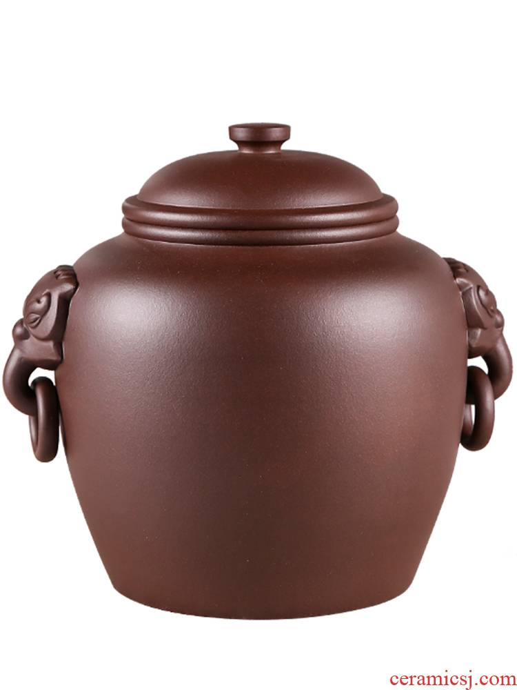 Enjoy a violet arenaceous caddy fixings household pu 'er wake POTS are stored general old purple clay JH seal pot large bulk