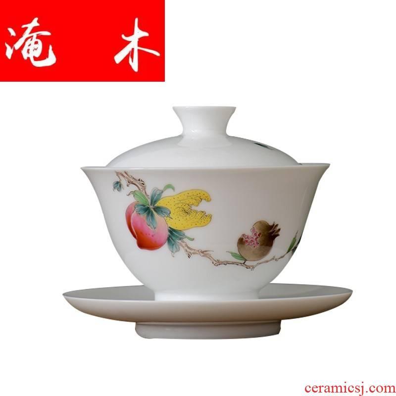 Submerged wood manual pastel jade porcelain only three tureen jingdezhen ceramic kung fu tea tea bowl of a large live hand - made