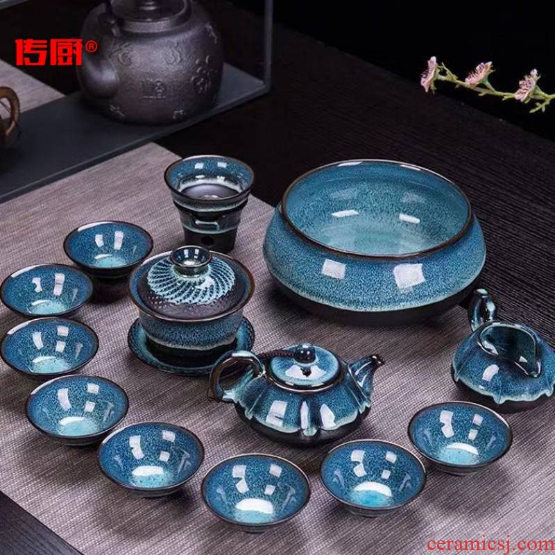 The kitchen tea set optional along an abundant distribution 】 【 kung fu tea set of a complete set of household ceramics up temmoku glaze