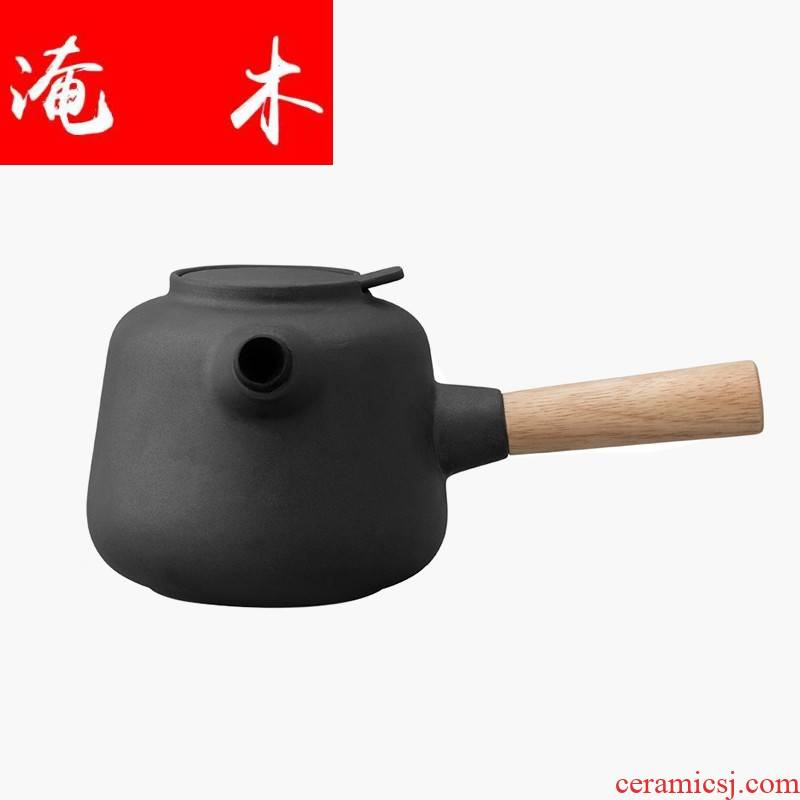 Submerged wood Denmark contracted grind arenaceous cooking pot ceramic side boil pot of 750 ml Nordic home little teapot tea