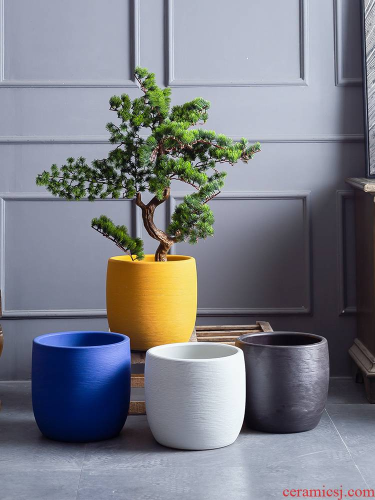 Nordic contracted and I ceramic flower pot small creative move household indoor and other green plant hydroponic flower pot flowers