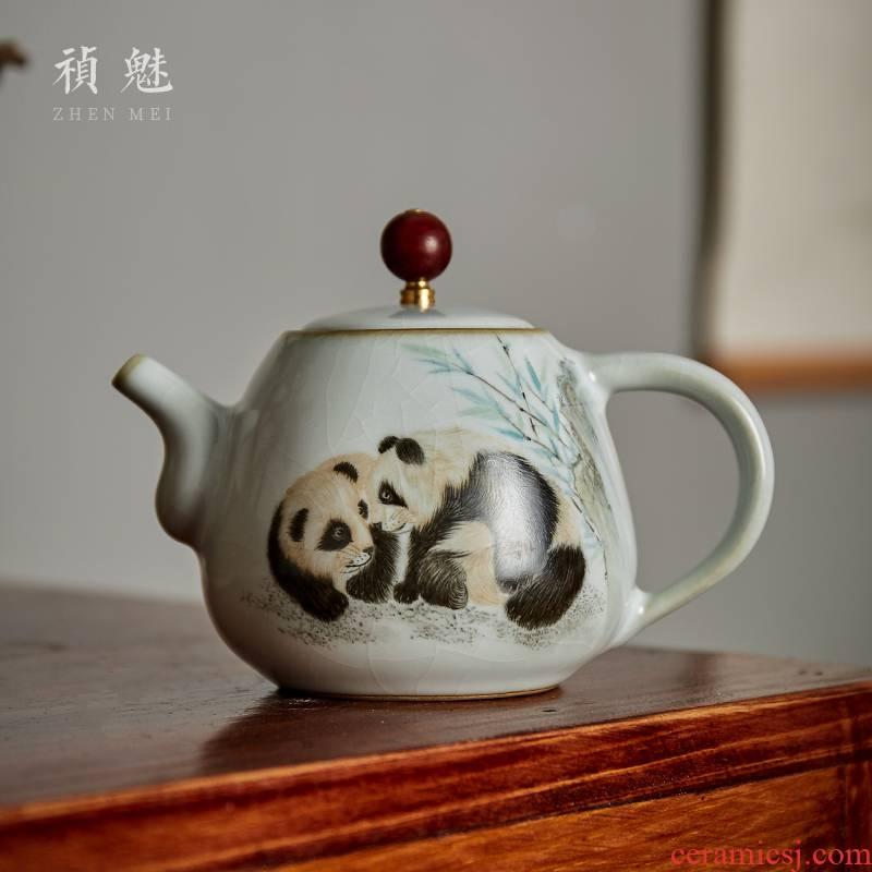Shot incarnate your up hand - made panda jingdezhen ceramic teapot kung fu tea set household slicing can be a single pot teapot
