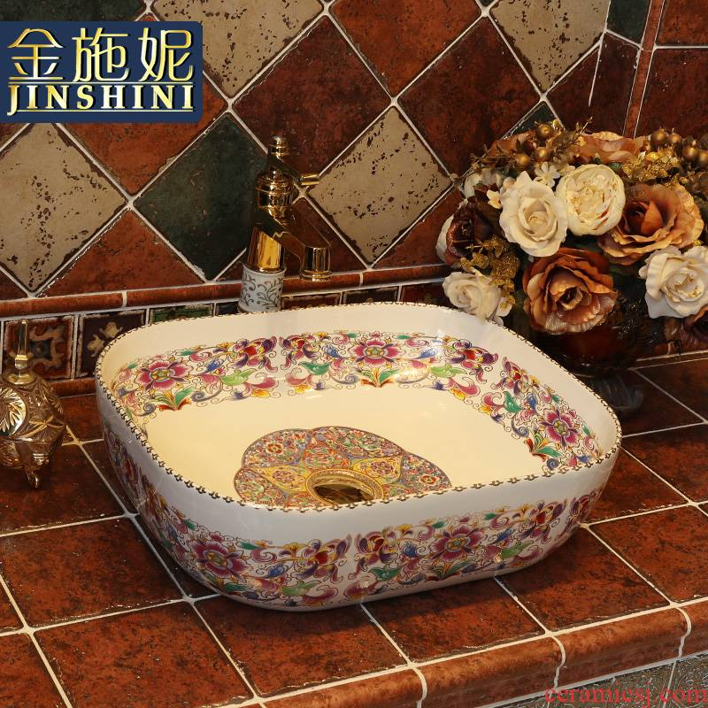 Gold cellnique art ceramic lavatory sink bathroom balcony European stage of the basin that wash a face basin square basin
