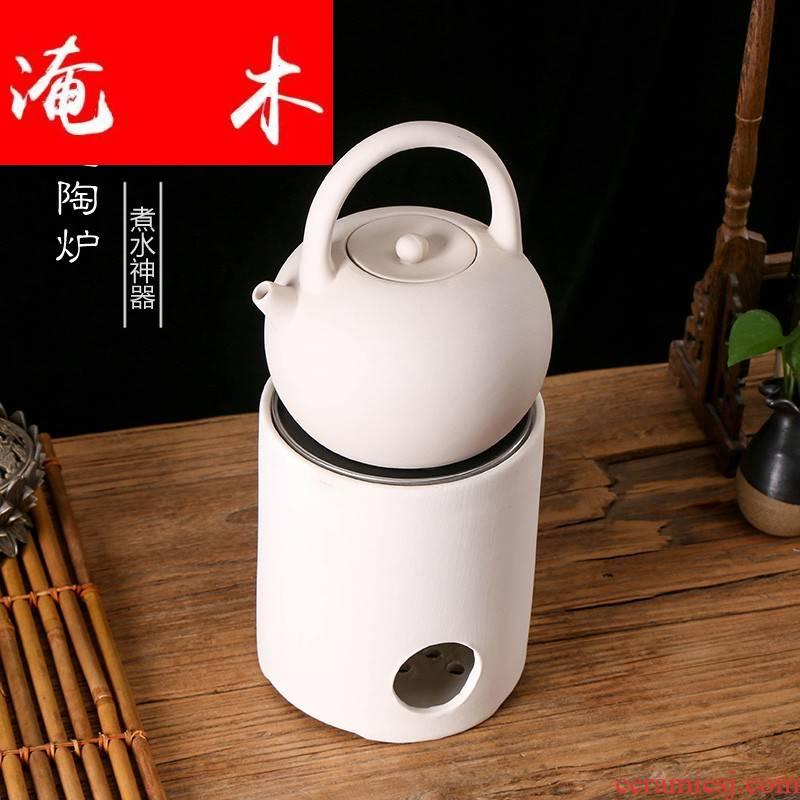 Flooded wooden tea chaoshan back white clay electric TaoLu tea stove kung fu tea boiling tea white ceramic electric furnace heating