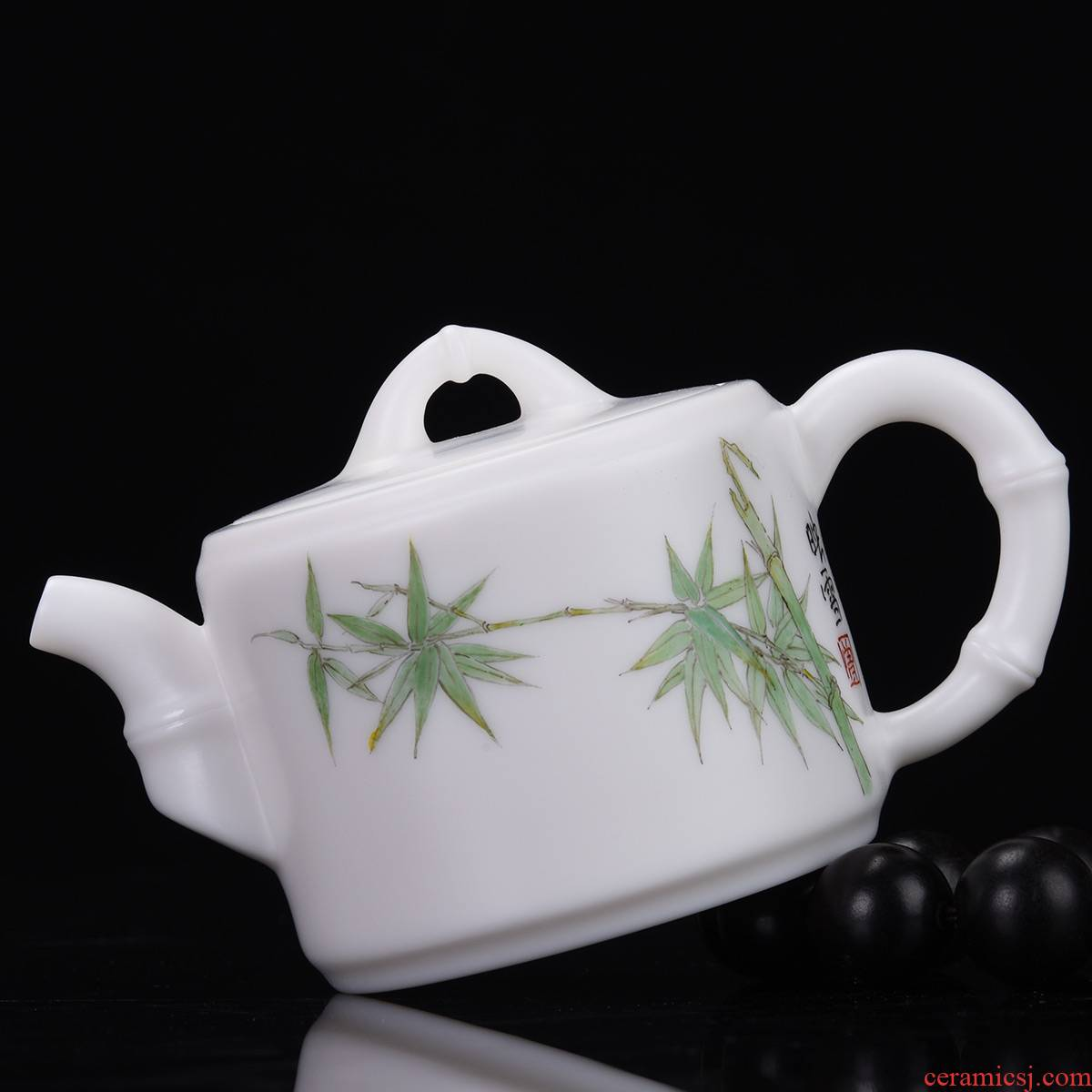 Shadow at dehua white porcelain pot of bamboo kung fu tea kettle hand - made office gift teapot tea tea accessories