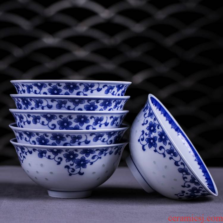 Jingdezhen porcelain and exquisite porcelain rice bowls 10 only suits for Chinese style restoring ancient ways ceramic household utensils to eat bowl bag in the mail