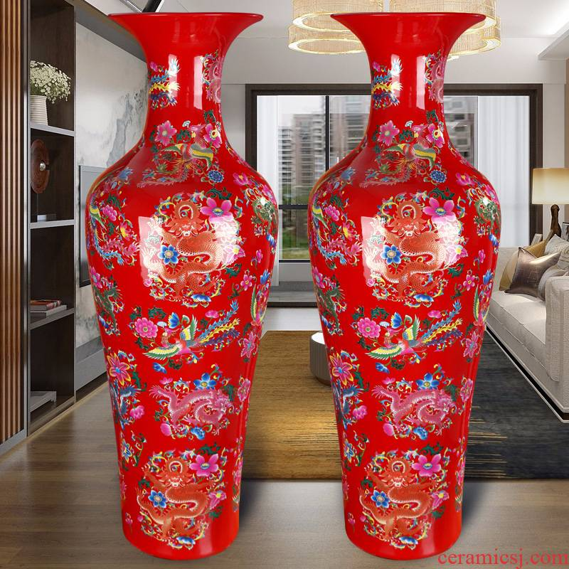 China red large vases, jingdezhen ceramics high TV ark to heavy adornment furnishing articles archaize sitting room