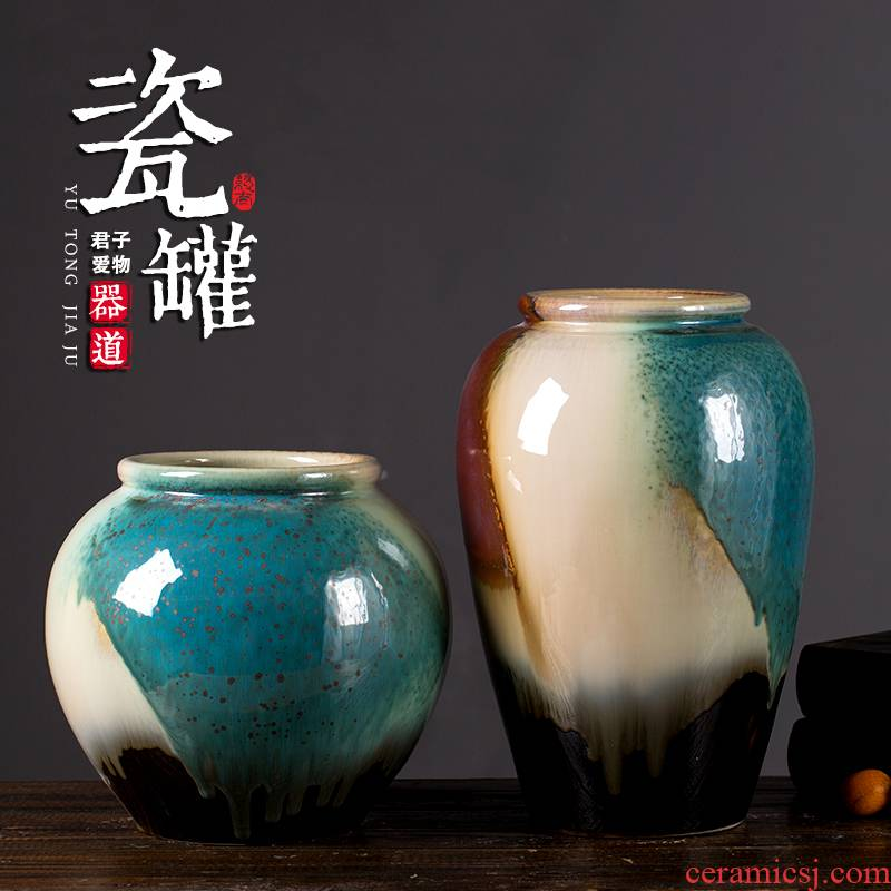 The rain tong household flagship store of jingdezhen ceramic storage tank decoration jar high - temperature up color glazed POTS