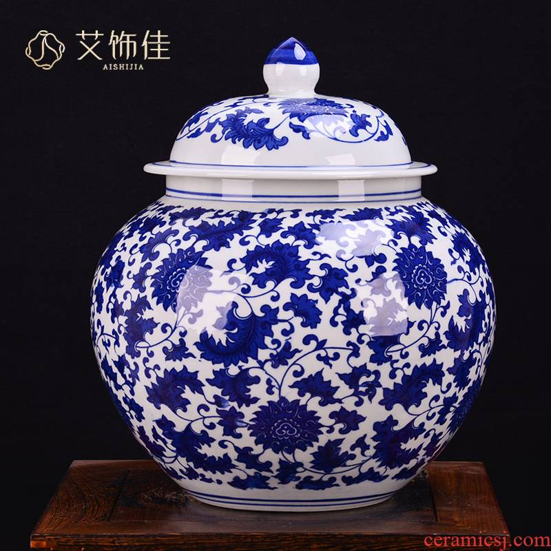 Jingdezhen ceramic antique blue - and - white bound lotus flower general tank storage caddy fixings with cover POTS child large - sized decorations