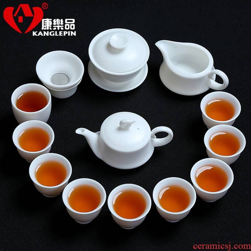 Recreation products a complete set of white porcelain kung fu tea sets suit household contracted Japanese tea tea tea set