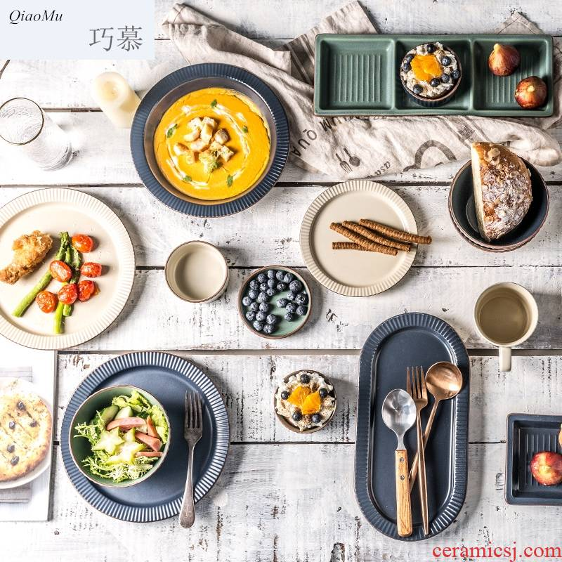 Qiam longed for creative Nordic ceramics tableware, restoring ancient ways opportunely tureen large household eat bowl dish salad bowl