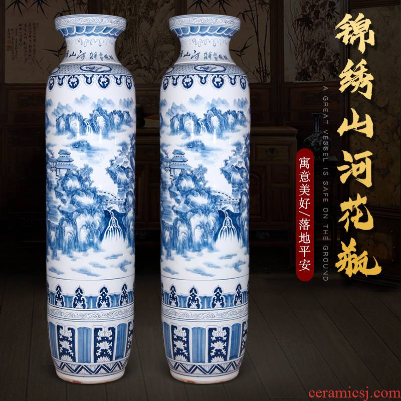 Splendid sunvo landing big vase of blue and white porcelain of jingdezhen ceramics high furnishing articles of Chinese style household decorative arts and crafts