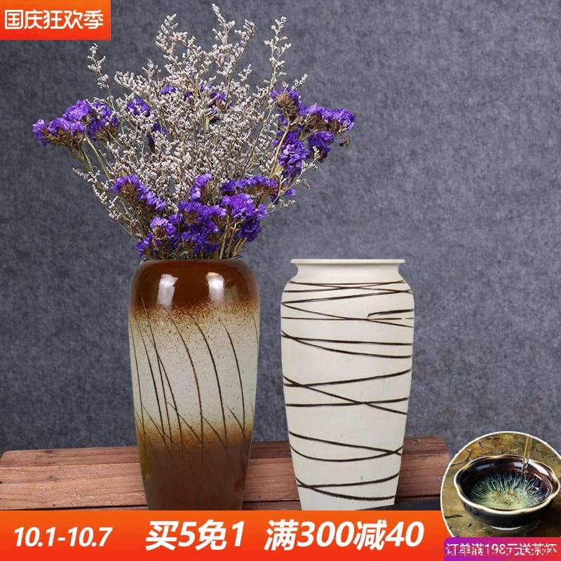 Nordic restoring ancient ways of jingdezhen ceramics creative Chinese vase furnishing articles sitting room dry flower flower arranging flowers trinkets