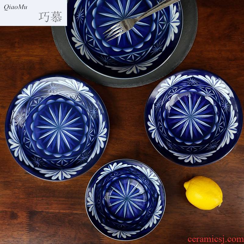 People eat Japanese ceramics tableware plate for a home opportunely large western food steak plate surface pasta snacks